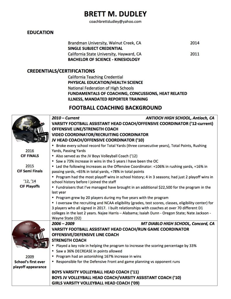 Football coaching resume examples